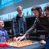 Levon Aronian, Robert Emms (Fischer), Ronan Raftery (Spassky) and Magnus Carlsen [Photography courtesy of London Chess Classic]