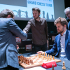 Robert Emms (Fischer), Levon Aronian, Ronan Raftery (Spassky), Magnus Carlsen and Malcolm Pein (CSC) [Photography courtesy of London Chess Classic]